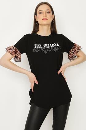 BLACK FEEL THE LOVE LEOPARD SLEEVE TEE