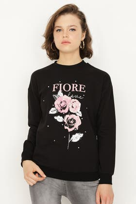 BLACK FIORE ROSE PRINT SWEAT