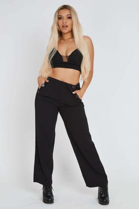 BLACK Flared Button Trousers