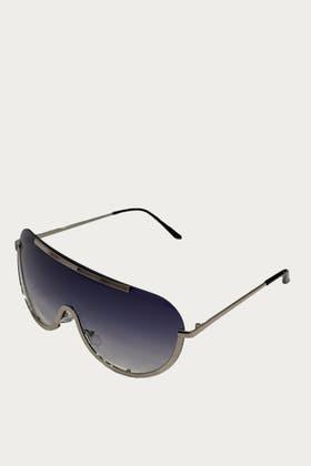BLACK Flat Top Rim Sunglasses