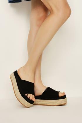 BLACK Flatform Rope Platform Sandals