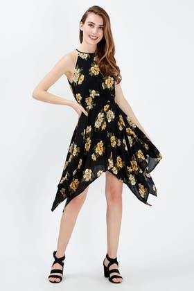BLACK FLORAL HANKY HEM DRESS