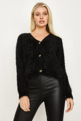 BLACK FLUFFY CROP CARDI WITH BUTTON