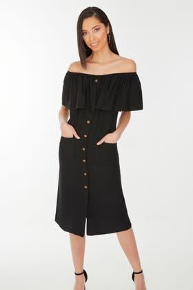 BLACK FRILL BUTTON THROUGH BARDOT DRESS