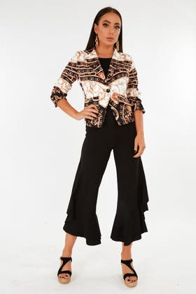 BLACK Frill detail flares Trousers