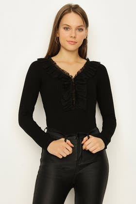 BLACK FRILL FRONT LONG SLEEVE BODY