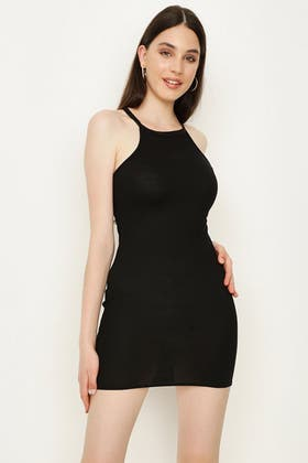 BLACK HALTER NECK RIB PLAIN BODYCON DRESS