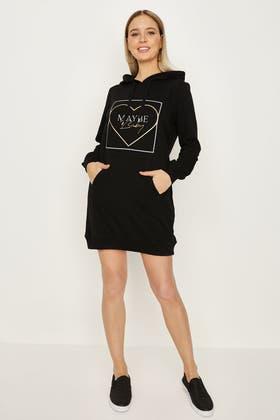 BLACK HEART EMBOSSED PRINT HOODIE DRESS