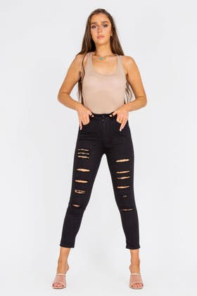 BLACK High waisted Extreme Ripped Jeans
