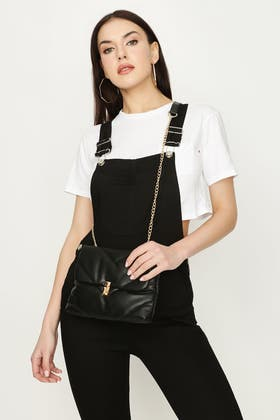 BLACK JUMBO QUILTED DAY TO NIGHT BAG
