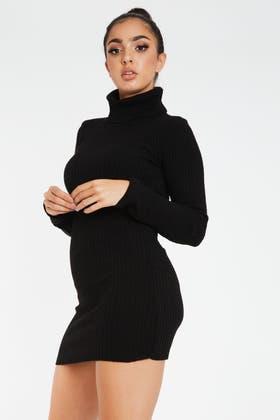 BLACK KNITTED POLO MINI DRESS