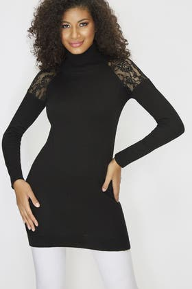 BLACK LACE DETAIL ROLLNECK TUNIC