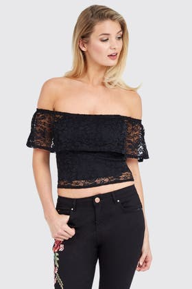 BLACK LACE DOUBLE LAYER FRILL