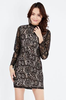 BLACK LACE HIGH NECK BODYCON DRESS