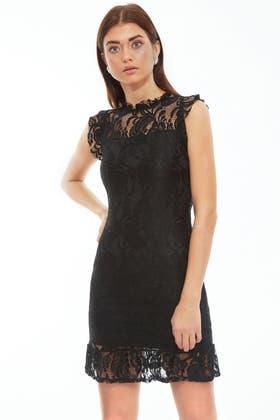 BLACK LACE PEPLUM HEM BODYCON DRESS