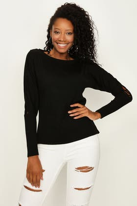 BLACK LACE UP SLEEVE BATWING JUMPER