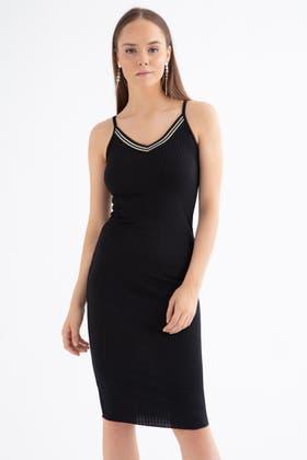 BLACK LUREX RIB NECK STRAPPY RIB DRESS