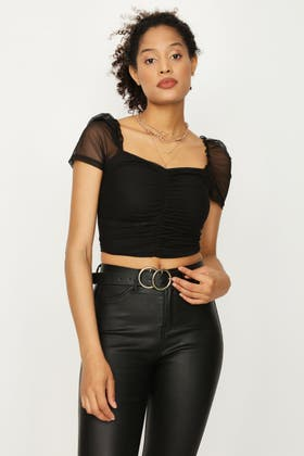 BLACK MESH PUFF SLEEVE RUCHED FRONT TOP
