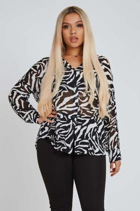 BLACK Mesh Zebra Print Button Shirt