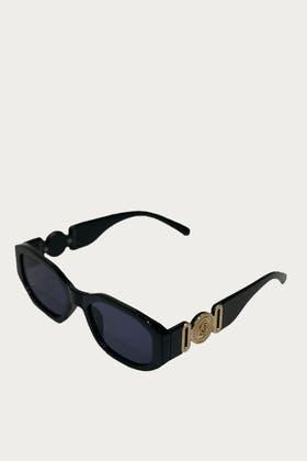 BLACK Metal Decor Sunglasses