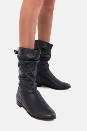 BLACK MID ROUCHED PU BOOT