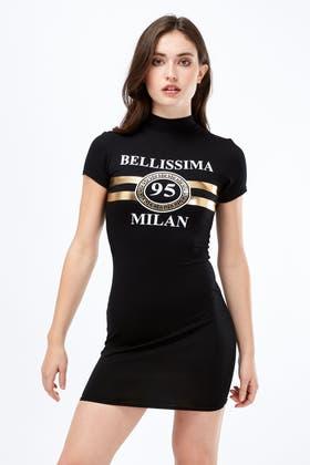 BLACK MILAN FOIL HIGH NECK BODYCON