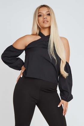 BLACK Neck Wrap Around with Shoulderless Sleeve