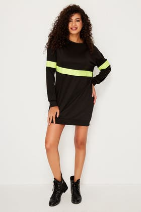 BLACK NEON TRIM SWEAT DRESS