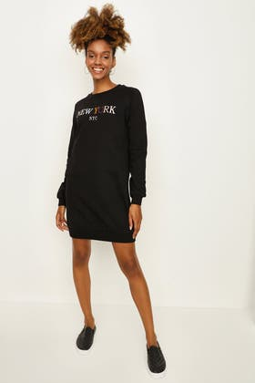 BLACK NEW YORK EMB SWEAT DRESS
