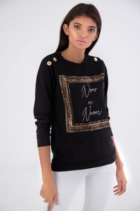 BLACK NOW OR NEVER BUTTON SHOULDER SWEAT