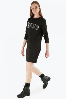 BLACK OFFLINE SLOGAN SWEAT DRESS