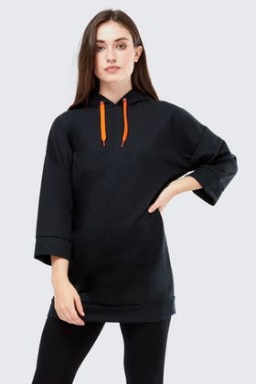 BLACK OVERSIZED HOODIE SWEAT DRESS