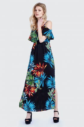 BLACK PALM COLD SHOULDER FRILL MAXI DRESS