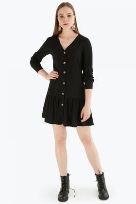 BLACK PEPLUM HEM BUTTON THROUGH DRESS