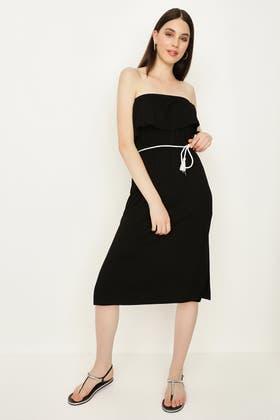 BLACK PLAIN ROPE BELT BARDOT TEA DRESS