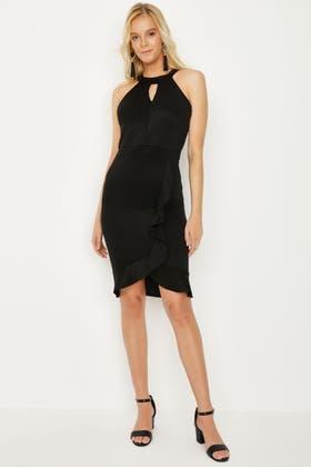 BLACK PLAIN SCUBA BODYCON DRESS