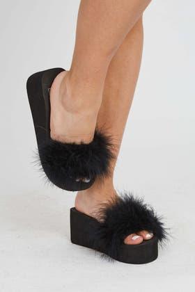 BLACK Platform Fluffy Sandals
