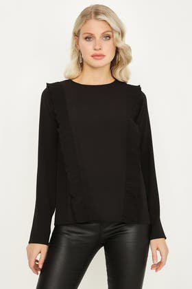 BLACK PLEATED FRILL BLOUSE