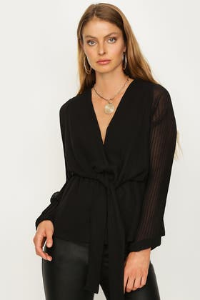 BLACK PLEATED SLEEVE TIE FRONT BLOUSE