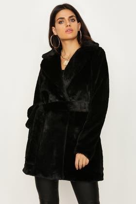 BLACK PLUSH TEDDY LONG BELTED COAT