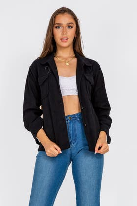 BLACK Pocket Shacket Jacket