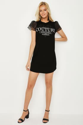 BLACK PRINTED ORGANZA SLV T-SHIRT DRESS