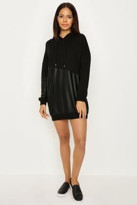 BLACK PU COLOUR BLOCK SWEAT DRESS