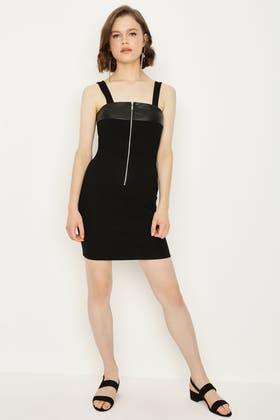 BLACK PU INSERT ZIP PINNY DRESS