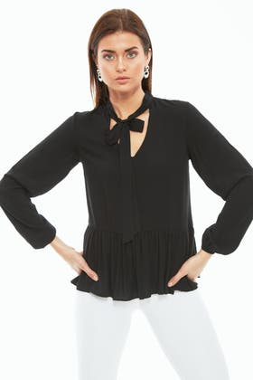 BLACK PUSSY BOW TIERED BLOUSE