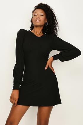 BLACK RIBBED CORSET FLARE DRESS