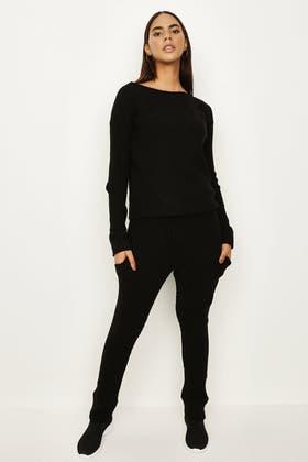 BLACK Ribbed Loungewear Set