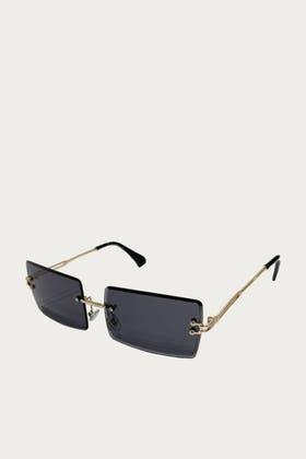 BLACK Rimless Square Sunglasses