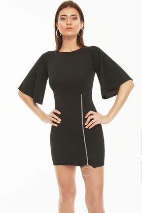 BLACK RING ZIP DETAIL CREPE DRESS