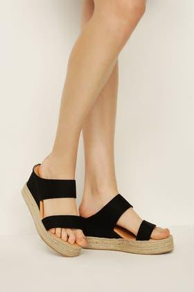 BLACK Rope Wedge Sandals